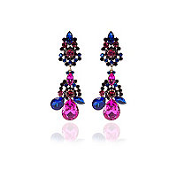 Blue and pink cocktail earrings