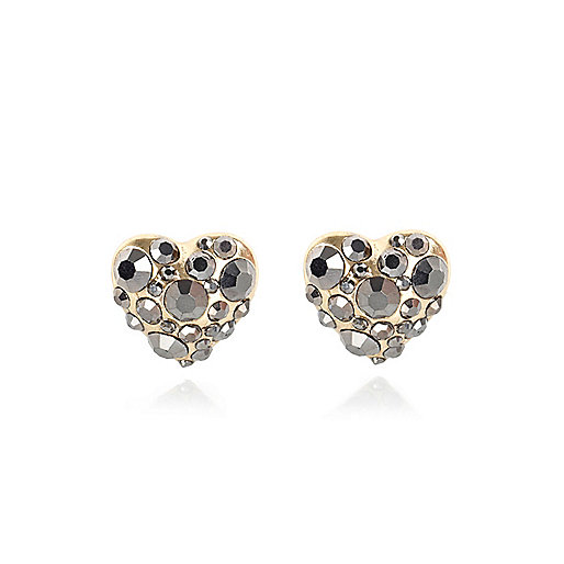Grey diamante heart stud earrings