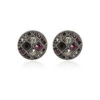 Gunmetal tone gem stone stud earrings