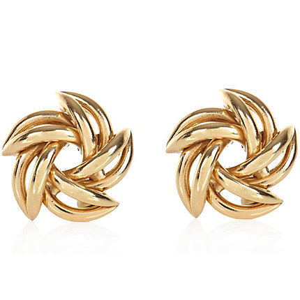 Gold tone swirl stud earrings