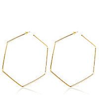 Gold tone oversized hexagon hoop earrings