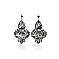 Black embroidered drop earrings