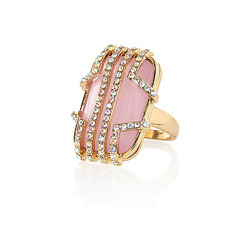 Gold tone deco statement ring