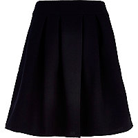 Black structured skater skirt