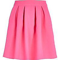 Pink structured skater skirt