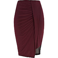Dark red draped mesh insert skirt