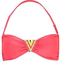 Pink bandeau bikini top