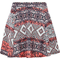 Red aztec puff print skater skirt