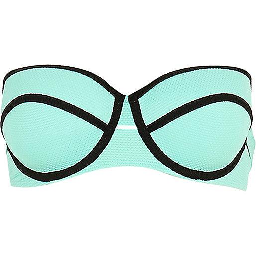 Light green textured bustier bikini top