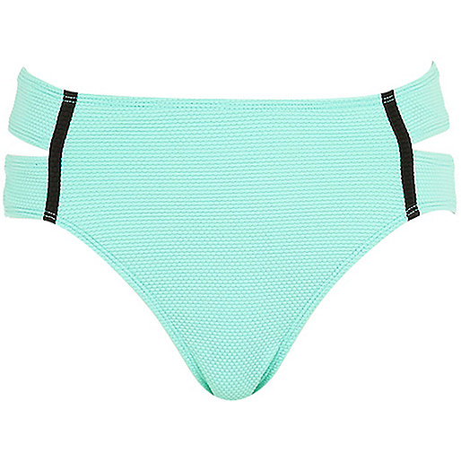 Light green textured bikini bottoms