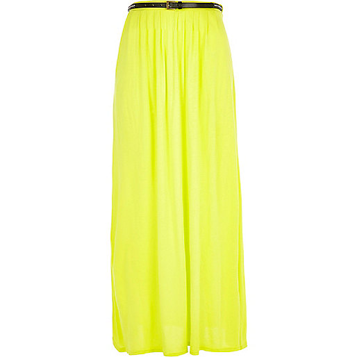 Lime jersey belted maxi skirt