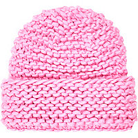 Pink super chunky knit beanie hat