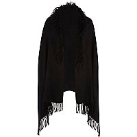 Black Mongolian fur trim cape