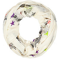 Cream heart and star print snood