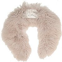 Light purple Mongolian fur collar