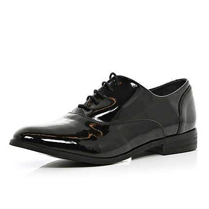 Black patent lace up brogues