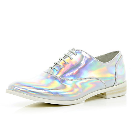 Silver holographic lace up brogues