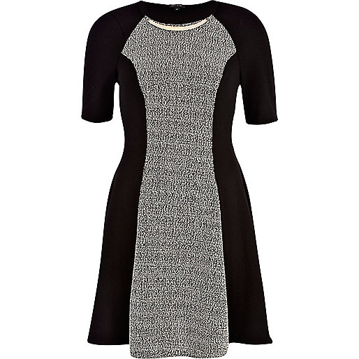 Grey boucle panel skater dress