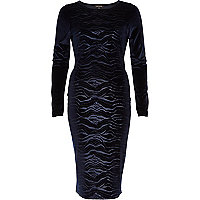 Navy animal print devore column dress