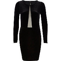 Black sheer panel velvet bodycon dress