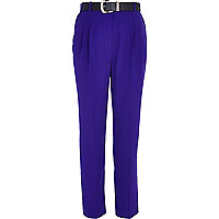 Purple high waisted belted trousers
