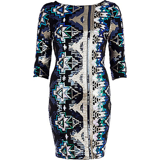 Green aztec sequin bodycon dress