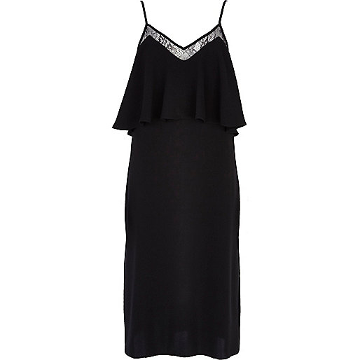 Black lace insert midi slip dress