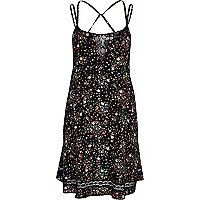 Black ditsy print lace insert slip dress