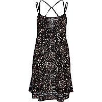 Black ditsy print lace insert slip dress