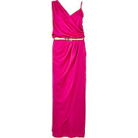 Pink asymmetric maxi slip dress