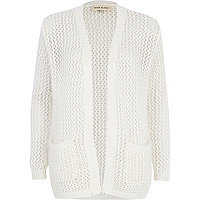 White fluffy knit cardigan