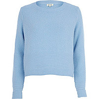 Light blue textured angora jumper