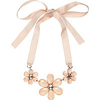 Pink 3D flower short ribbon necklace