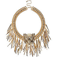 Gold tone Tiger head statement necklace