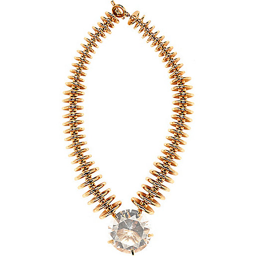 Gold tone crystal stone statement necklace
