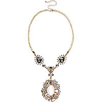 Gold tone encrusted bungee cord necklace