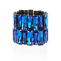 Blue gem stone stretch bracelet
