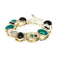 Gold tone mixed gem stone bracelet