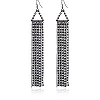 Black diamante chain drop earrings