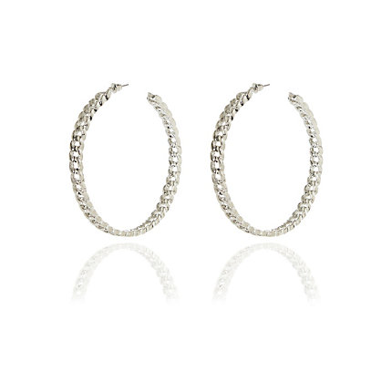 Silver tone curb chain hoop earrings