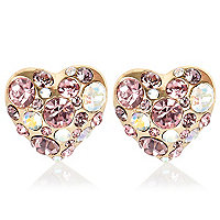 Gold tone diamante heart earrings