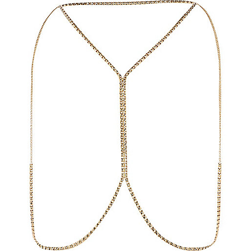 Gold tone tiny stud body chain