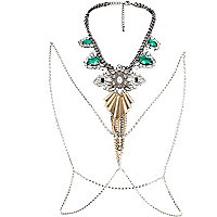 Green gem stone deco body harness