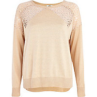 Light pink lace insert jumper