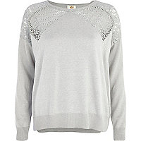 Grey lace insert jumper
