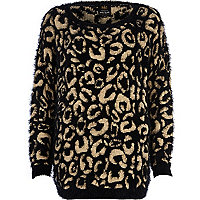 Beige fluffy animal jacquard tunic
