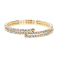 Gold tone diamante wrap bracelet