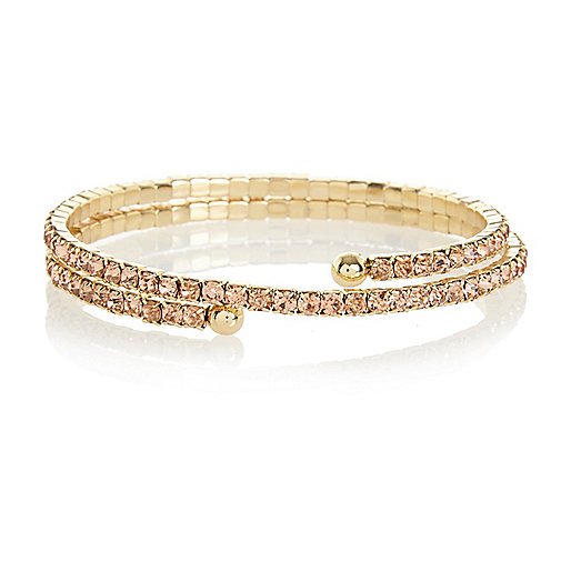 Pink diamante wrap bracelet