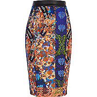 Blue oriental print high waisted pencil skirt