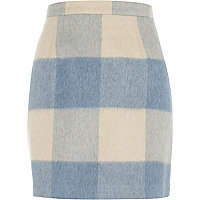 Light blue brushed check mini skirt